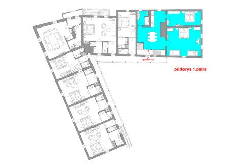 Velký rodinný apartmán se dvěma ložnicemi